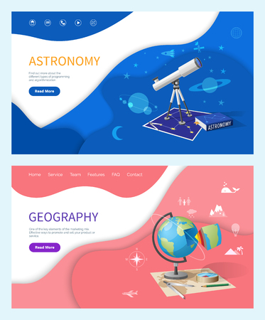 Astronomy subject in school, geography discipline web pages vector. Telescope with zooming lens, stars and planets exploration. Globe model of Earth