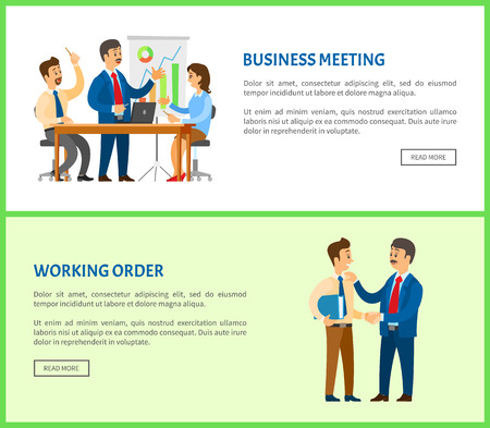 Business meeting and working order, boss giving instructions to employee, conversation between colleagues. Manager presents report with graphs and charts Vectores