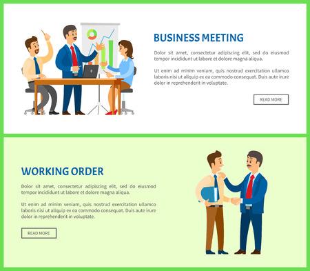 Geschäftstreffen und Arbeitsauftrag, Chef, der dem Mitarbeiter Anweisungen gibt, Gespräch zwischen Kollegen. Manager präsentiert Bericht mit Grafiken und Diagrammen