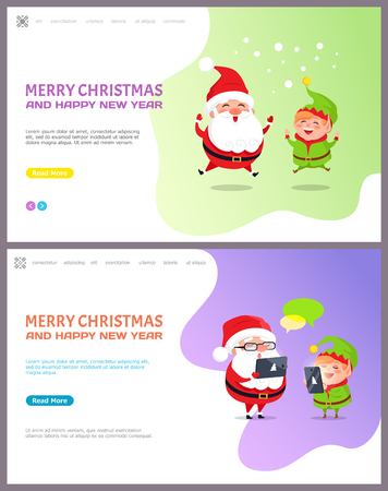 Merry Christmas and happy New Year, Santa Claus and Elf getting messages from children with wishes. Cartoon character Father frost and little helper jumping, vector Standard-Bild - 115951463