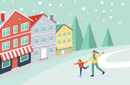 Ice skating of mother and child, winter cityscape vector. Buildings and trees, pine and snowing weather, people having fun outdoors, wintertime hobby