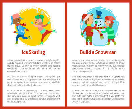 Ice skating and build snowman postcards, children on rink playing together in winter vector. Boy and girl making snowman, vector posters, text sample Ilustracja