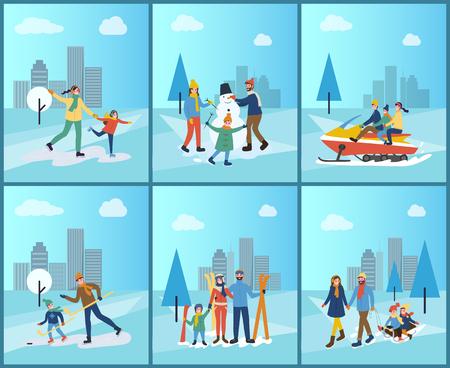 Motoneige familiale, ski et construction de vecteur de bonhomme de neige. Les gens sur la patinoire patinage artistique mère et fille, père et fils jouant au hockey