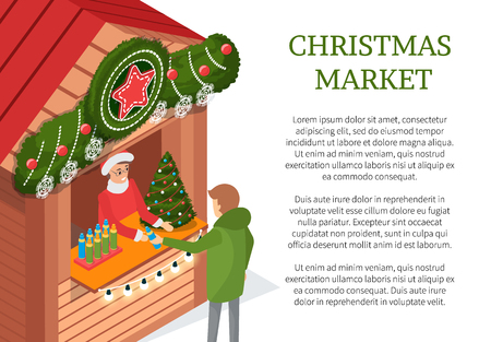 Christmas holiday person buying souvenir from street shop vector. Male standing by Stall decorated with pine spruce, stars and snowflakes customer Illustration