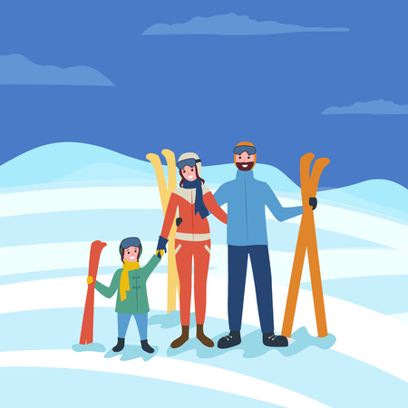 Family skiing, winter seasonal fun of parents and kid vector. Vacation of people with equipment for hobby, skiers in warm clothes to protect from cold Ilustracja
