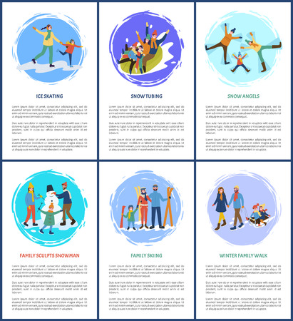 Snow angel game, tubing and skating on ice family vector. People building snowman skiing parents and kid, child on sledges pulled by father and mother