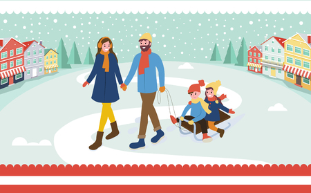 Mother and father with kids outdoors, town street vector. Daddy and mummy with children sitting on sledges, winter season city snowing weather outside