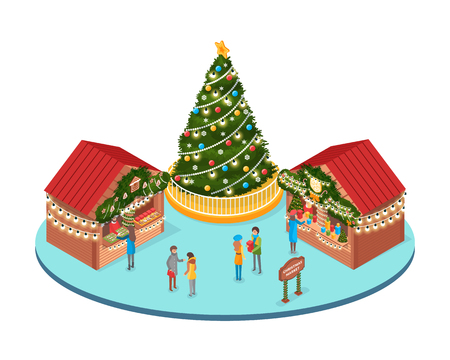 Christmas fair, winter holidays market with people vector. Spruce decorated with garlands and baubles, decorative toys, souvenirs stalls at streets