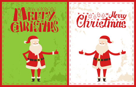 Merry Christmas Santa Claus celebrate Xmas time. Bearded man send warm wishes on New Year eve, vector senior person in red costume and gesture signs