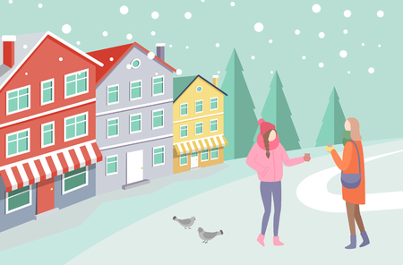 Two women in warm clothes standing outdoor on snowing street near colorful houses and trees. Girls speaking and holding cups near gulls on road vector 일러스트