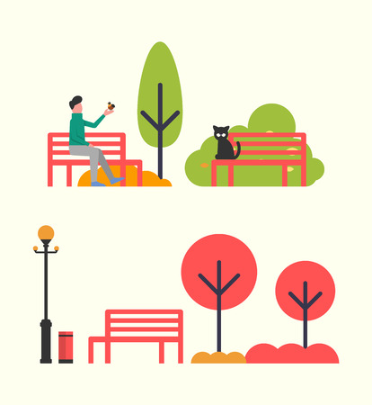 Man in park, autumn season relaxation on nature vector. Person spending time in fall seasonal days sitting on bench. Wooden benches and trees bushes Иллюстрация