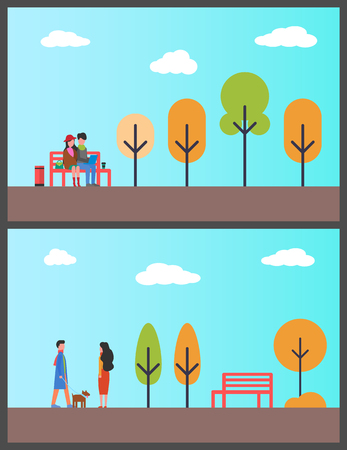 People walking dog, couple working in autumn park vector. Pet on leash man and woman strolling, trees and empty bench. Freelancers sitting with laptop Illustration
