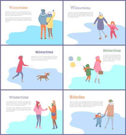Wintertime couple walking on ice skating rink vector. Warm clothing put on people, person walking canine on leash, man and woman, child and mother Ilustracja