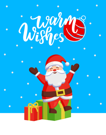 Warm Wishes major card with Santa and gift boxes. Vector cartoon and fairy tale hero sitting on mound of gifts and spreading hands sending greetings