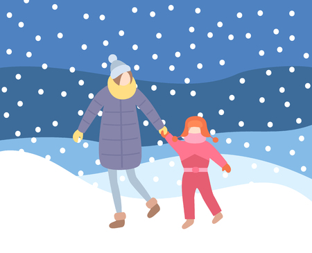 Mother and kid walking in evening blizzard, wintertime nights vector. Snowfall and people wearing warm clothes, baby daughter with scarf knitted hat 일러스트