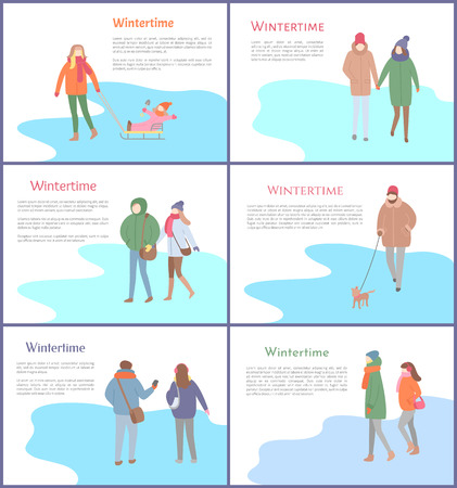 Set of wintertime images with group of people in warm clothes. Going outdoor couple and person with child on sleigh and pet, illustration with text vector