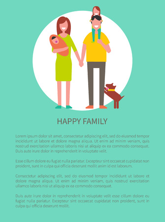 Happy family people poster vector. Father carrying little girl and mother with newborn baby child. Parents and children, puppy pet breed beside daddy
