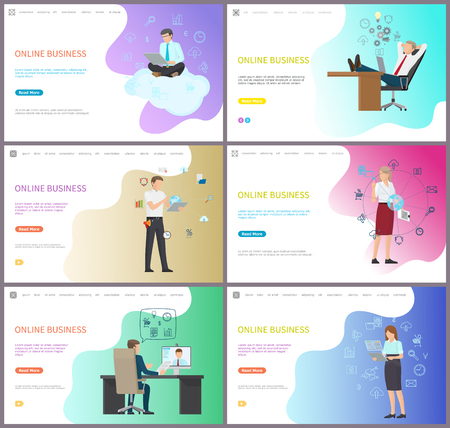 Online business for companies and investors set of posters with text sample. Analysis and worldwide network, internet and web leading working process