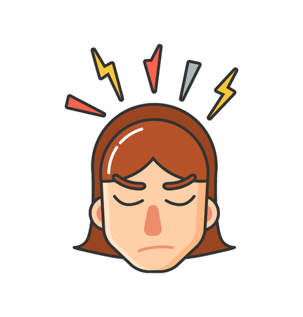 Teen girl with brown hair having headache. Young woman template image about feeling unwell. Colored image female face vector isolated with thunder over head