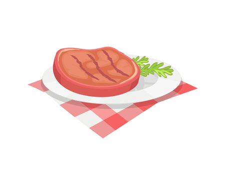 BBQ beefsteak meal on plate with herb. Condiment of beef roasted meat barbeque food served with branch of plant. Barbecue dish isolated icon vector