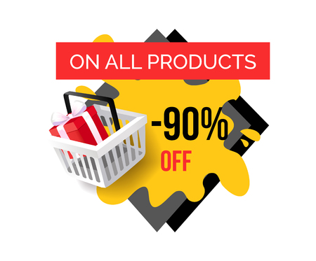 Sale on all products, 90 percent reduction, shop discounts isolated banner vector. Shopping basket with present box. Special prices sale and offers