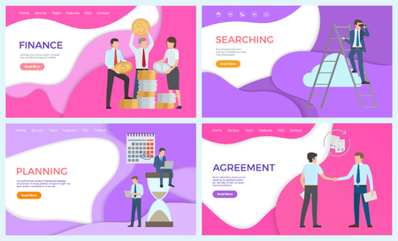 Finance searching of investors and new business ideas vector. Planning workers, deadline and calendar, agreement of partners holding signed contract 向量圖像
