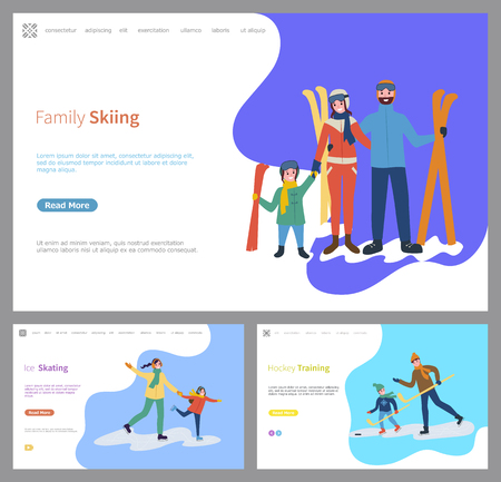 Family skiing and skating together, wintertime of people vector. Mother and father, daughter daddy with son hockey training with wooden sticks, game 일러스트