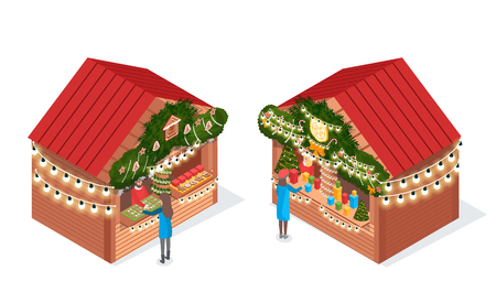 Women standing and choosing thing in blue coat. Holiday fair house decorated needles and garlands on roof. Seller in Santa wear near trees vector isolated