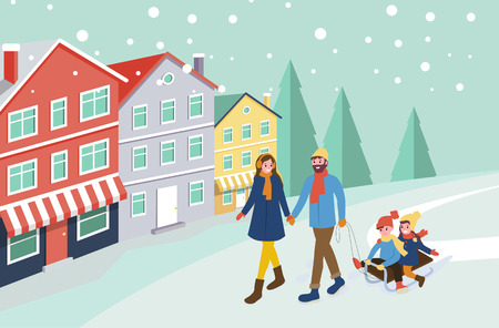 Mother and father pulling sledges with children vector. City with snowing weather, building of town with pine trees and snowfall. Family spending time Illusztráció