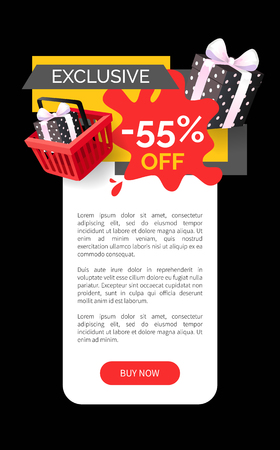 Exclusive products sellout 55 off price vector web site template. Presents and gifts in shopping basket, promotion and clearance of shops, sale goods Illusztráció
