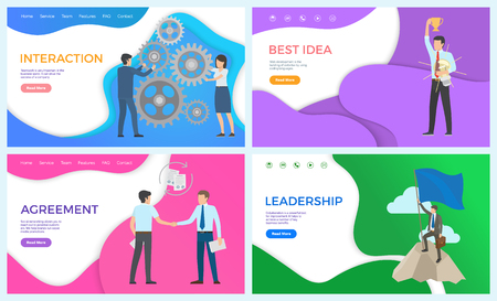Best idea of businessman leadership posters set with text sample. Interaction between workers and leader, agreement with partner solving problems Vetores