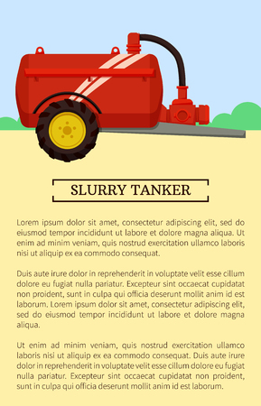Agricultural machinery icon cartoon vector banner. Single metal slurry tanker, isolated on landscape, new technique and farming equipment poster. Illustration
