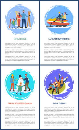 Family skiing, people sculpting snowman tubing vector. Skier father, mother, and kid with special equipment. Snowmobiling on vehicle with parents Banco de Imagens - 125863934