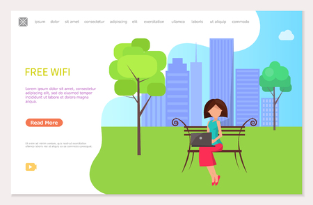 Free wifi zone in city park, woman sitting on bench working at laptop. Web page template with freelance worker with notebook on backdrop of buildings, vector Illustration