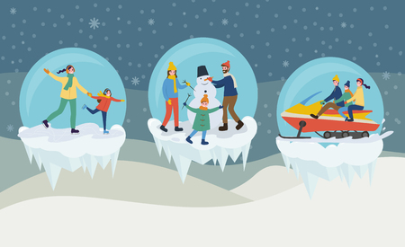 Woman holding child and skating, cheerful family making snowman and riding on snowmobiling. Winter outdoor activities, illustration in bowls vector