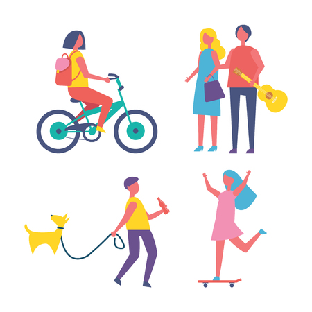 People resting in park cartoon isolated vector banner. Girl with backpack riding bike, guy with bottle of cola walk dog on leash, teen on skateboard Çizim