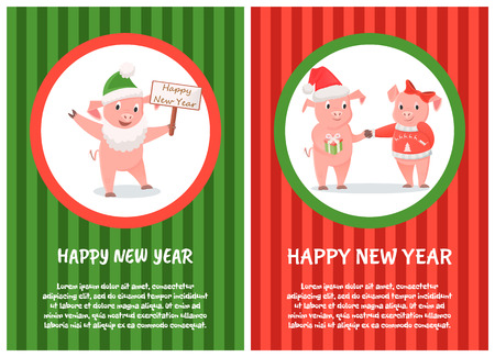 Happy New Year postcard, male and female piglets, pigs in hat and bow, Christmas holidays. Animal exchange gift, zodiac symbol with signboard vector