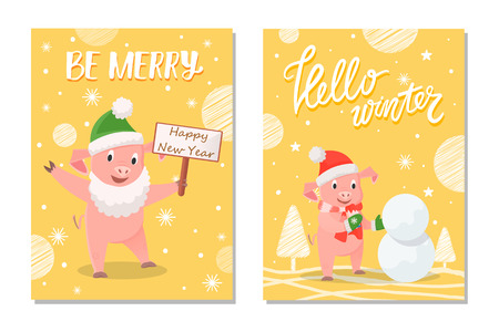 Be Merry happy New Year and hello winter. Pig in green mittens and red scarf making snowman near trees, smiling piggy in beard holding nameplate vector Ilustração