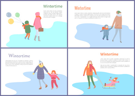 Wintertime pastime people having fun outdoors vector. Family mother and kid walking on ice, skating on rink, child sitting on sleds, winter holidays