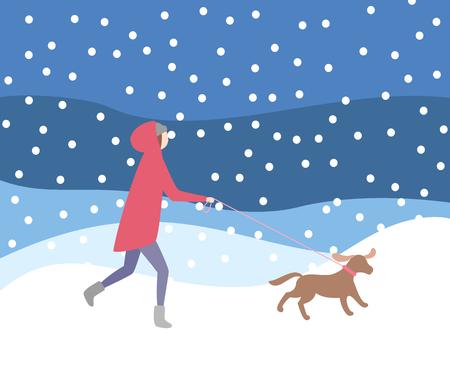 Gehender Hund der Frau an der Leine bei Schneefällen, Winteraktivitätsvektor. Dame, die wärmende Kleidung trägt, abendlicher Schneesturm, Besitzer und Hundehundehaustier