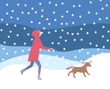 Woman walking dog on leash in snowfall, wintertime activities vector. Lady wearing warming clothes, evening night blizzard, owner and canine doggy pet Illustration