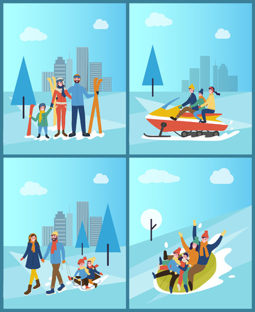 Family spending time in city, town wintry park set vector. People going downhill on tube, skiing and snowmobiling, mother and father with children