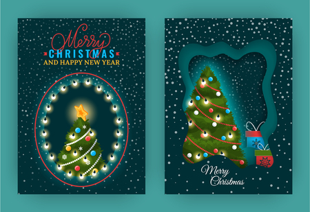 Merry Christmas and Happy New Year greeting set of posters vector. Pine tree decorated with bows and garlands baubles and balls, presents and gifts