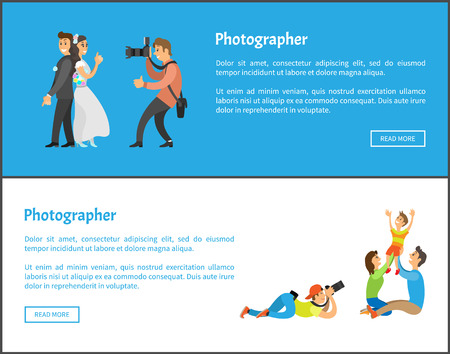 Wedding photographer and family photosession web banners. Photo of bride next to groom, mother with father holding child vector illustrations set.