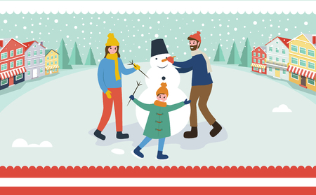Family sculpts snowman, building of winter character vector. Woman and man, father mother child holding branch, carrot nose and bucket of snowballs