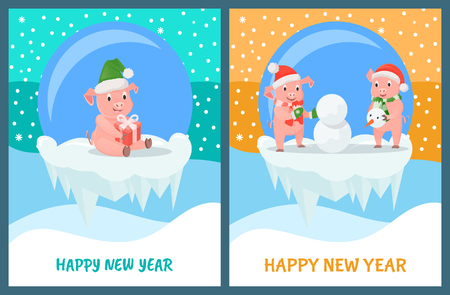 Happy New Year, glass bauble toys with piglets inside vector. Pigs building snowman with snow, winter activities. Snowing weather, animal with gift