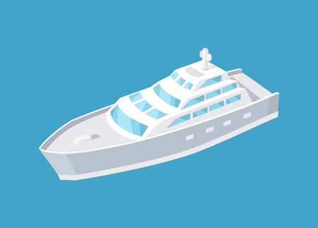 Passenger liner marine traveling vessel vector icon isolated. Modern yacht sailing in deep blue waters, steamship cruise nautical craft, sailboat sample Illustration