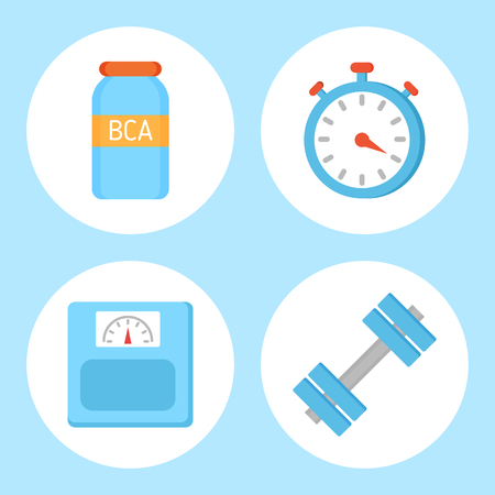 BCAA vitamin and timer set isolated icons. Weight device measuring kilo, dumbbells for muscles growth. Sport equipments for training, exercices vector Stock Vector - 125863958