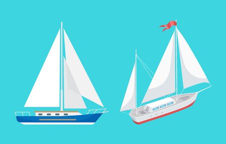 Water transport sailing boat with ribbon on top set vector. Ships for transportations and rides for pleasure. Floating vessels for people to travel
