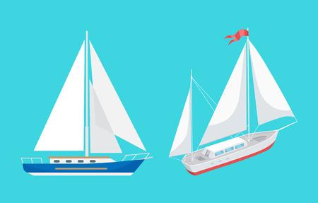 Wassertransport-Segelboot mit Band auf dem oberen Satzvektor. Schiffe für den Transport und Fahrten zum Vergnügen. Schwimmende Schiffe für Reisende